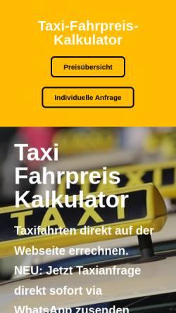 Vorschau der mobilen Webseite www.taxi-fahrpreis-kalkulator.de, Taxi-Fahrpreis-Kalkulator