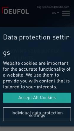 Vorschau der mobilen Webseite www.deufol.de, Deufol Exportverpackung