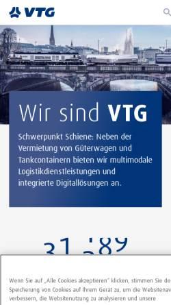 Vorschau der mobilen Webseite www.vtg-lehnkering.de, VTG-Lehnkering AG