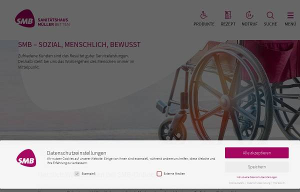 Vorschau von www.smb-online.de, Sanitätshaus Müller Betten GmbH & Co. KG