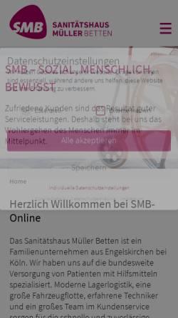Vorschau der mobilen Webseite www.smb-online.de, Sanitätshaus Müller Betten GmbH & Co. KG