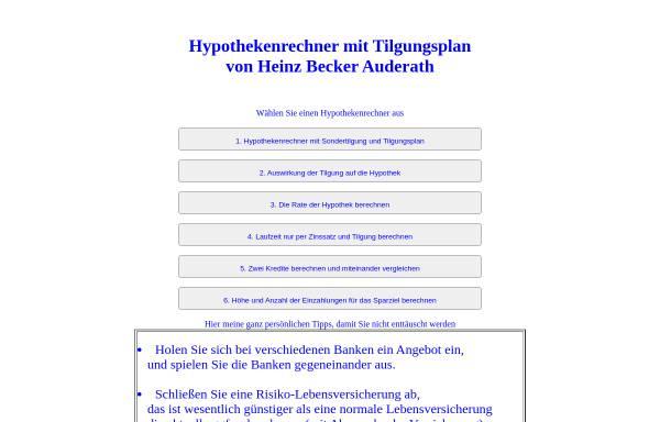 Vorschau von www.hbnweb.de, Hypothek mit Tilgungsplan online berechnen