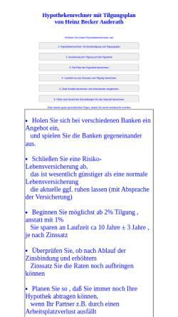 Vorschau der mobilen Webseite www.hbnweb.de, Hypothek mit Tilgungsplan online berechnen