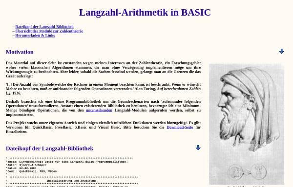 Vorschau von largeint.sourceforge.net, Langzahl-Arithmetik in Basic