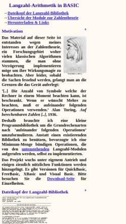 Vorschau der mobilen Webseite largeint.sourceforge.net, Langzahl-Arithmetik in Basic