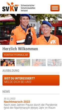 Vorschau der mobilen Webseite www.verkehrskadett.ch, Schweizerischer Verkehrskadettenverband, SVKV