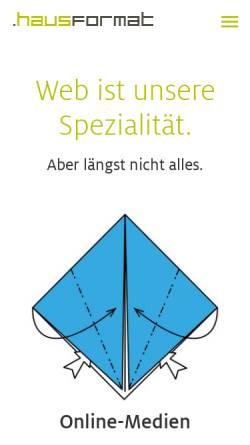 Vorschau der mobilen Webseite www.hausformat.com, .hausformat GmbH