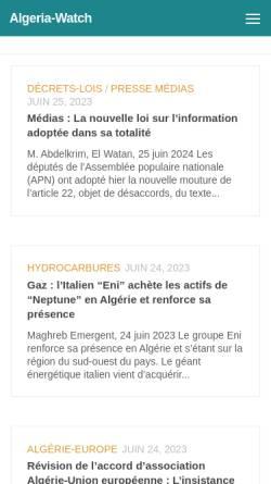 Vorschau der mobilen Webseite www.algeria-watch.de, Algeria-Watch