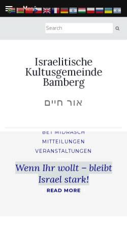 Vorschau der mobilen Webseite www.ikg-bamberg.de, Israelitische Kultusgemeinde Bamberg