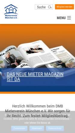 Vorschau der mobilen Webseite www.mieterverein-muenchen.de, Mieterverein München e. V.