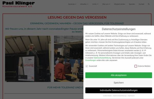 Vorschau von www.paul-klinger-ksw.de, Paul-Klinger-Künstlersozialwerk e.V.