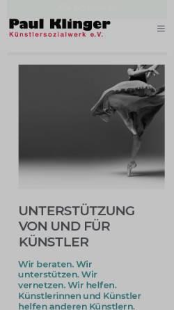 Vorschau der mobilen Webseite www.paul-klinger-ksw.de, Paul-Klinger-Künstlersozialwerk e.V.