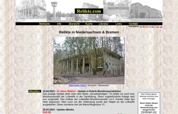 Vorschau von www.relikte.com, Relikte in Niedersachsen und Bremen