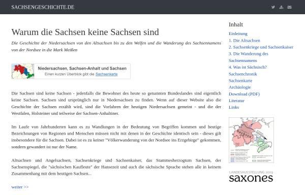 Vorschau von www.sachsengeschichte.de, Warum die Sachsen keine Sachsen sind