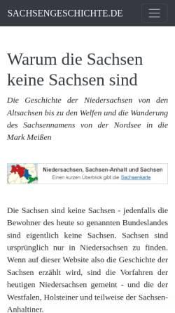 Vorschau der mobilen Webseite www.sachsengeschichte.de, Warum die Sachsen keine Sachsen sind