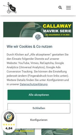Vorschau der mobilen Webseite hohmann-golf.de, Hohmann's Golf-Shop