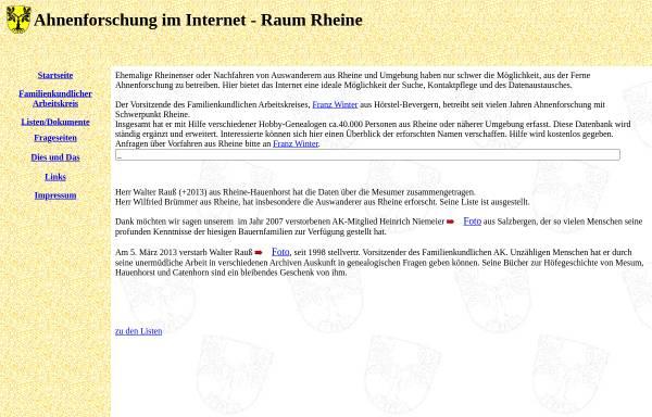Vorschau von www.rheineahnen.de, Ahnenforschung im Internet - Familienkundlicher Arbeitskreis Rheine