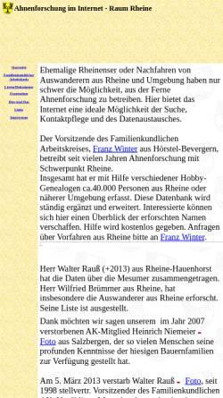 Vorschau der mobilen Webseite www.rheineahnen.de, Ahnenforschung im Internet - Familienkundlicher Arbeitskreis Rheine