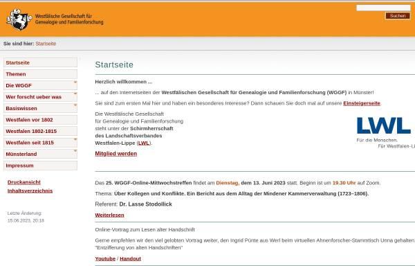 Vorschau von www.wggf.de, Westfälische Gesellschaft für Genealogie und Familienforschung