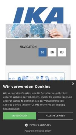 Vorschau der mobilen Webseite www.ika-wolfen.de, IKA Innovative Kunstoffaufbereitung GmbH & Co KG