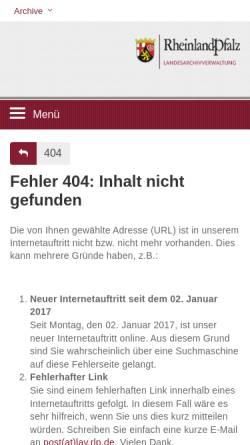Vorschau der mobilen Webseite www.landeshauptarchiv.de, Archive - Archivportal für den Südwesten