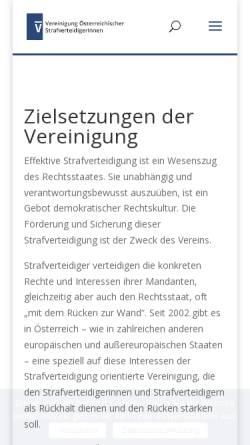 Vorschau der mobilen Webseite www.strafverteidigung.at, Vereinigung Österreichischer StrafverteidigerInnen
