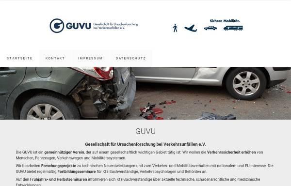 Vorschau von www.guvu.de, GUVU Gesellschaft für Ursachenforschung bei Verkehrsunfällen e. V.