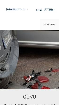 Vorschau der mobilen Webseite www.guvu.de, GUVU Gesellschaft für Ursachenforschung bei Verkehrsunfällen e. V.
