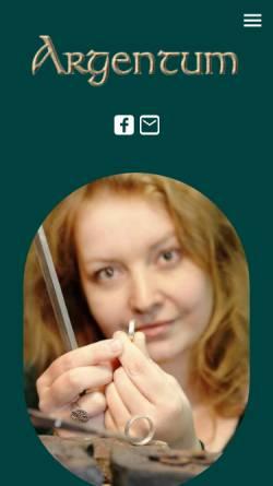 Vorschau der mobilen Webseite www.argentum-eisenach.de, Goldschmiede Argentum, Inh. Ines Richter
