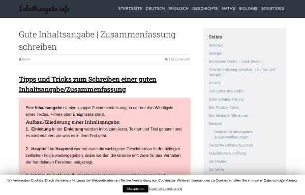 Inhaltsangabeinfo Schule Neuhochdeutsch Inhaltsangabeinfo