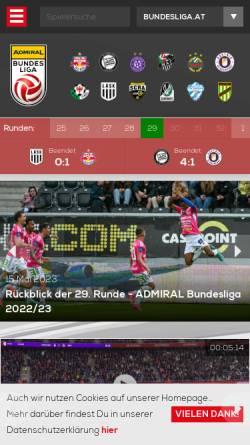 Vorschau der mobilen Webseite www.bundesliga.at, Österreichische Fußballbundesliga