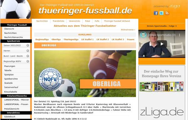 Vorschau von www.thueringer-fussball.de, Thüringenliga
