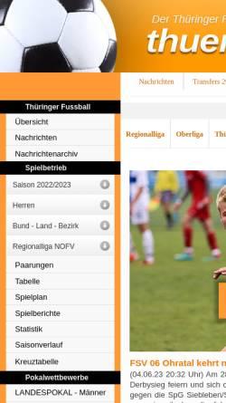 Vorschau der mobilen Webseite www.thueringer-fussball.de, Thüringenliga