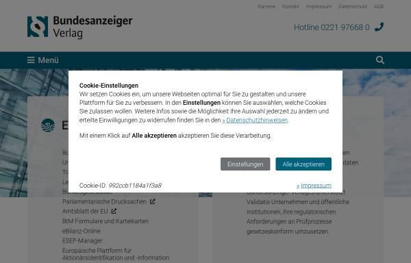 Vorschau von www.bundesanzeiger-verlag.de, Bundesanzeiger Verlagsgesellschaft mbH