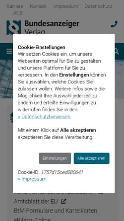 Vorschau der mobilen Webseite www.bundesanzeiger-verlag.de, Bundesanzeiger Verlagsgesellschaft mbH
