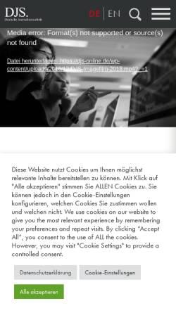 Vorschau der mobilen Webseite www.djs-online.de, Deutsche Journalistenschule (DJS)