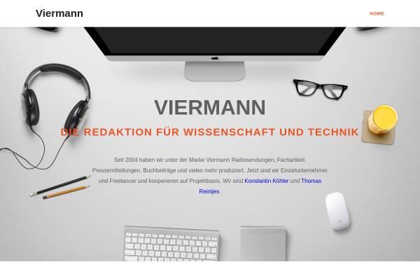 Vorschau von www.viermann.info, Redaktionsbüro Viermann - Wissenschaft und Technik