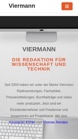 Vorschau der mobilen Webseite www.viermann.info, Redaktionsbüro Viermann - Wissenschaft und Technik