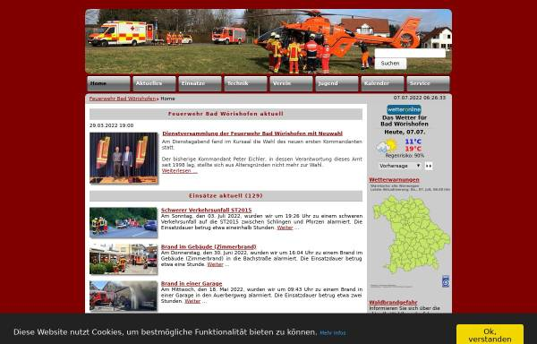 Vorschau von www.ffwbw.de, Freiwillige Feuerwehr Bad Wörishofen