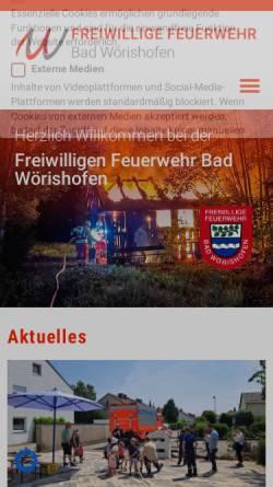 Vorschau der mobilen Webseite www.ffwbw.de, Freiwillige Feuerwehr Bad Wörishofen