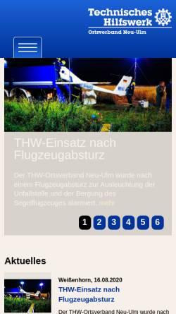 Vorschau der mobilen Webseite www.thw-neu-ulm.de, THW Ortsverband Neu-Ulm
