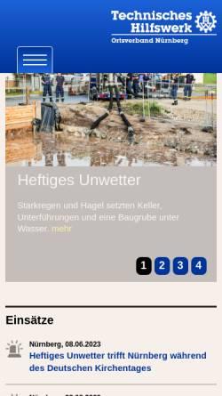 Vorschau der mobilen Webseite www.thw-nuernberg.de, THW Ortsverband Nürnberg