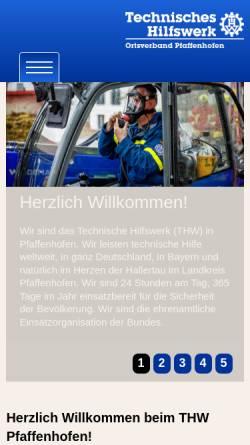 Vorschau der mobilen Webseite www.thw-pfaffenhofen.de, THW Ortsverband Pfaffenhofen