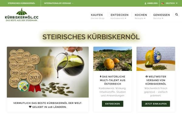 Vorschau von www.kuerbiskernoel.cc, Kürbiskernöl.cc