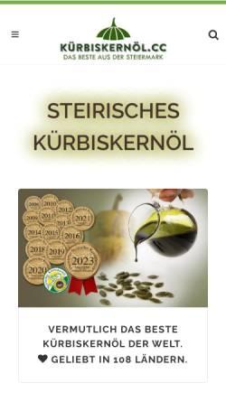 Vorschau der mobilen Webseite www.kuerbiskernoel.cc, Kürbiskernöl.cc