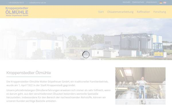 Vorschau von www.korena-oel.de, Kroppenstedter Ölmühle Walter Döpelheuer GmbH