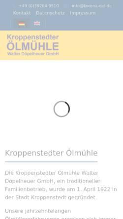 Vorschau der mobilen Webseite www.korena-oel.de, Kroppenstedter Ölmühle Walter Döpelheuer GmbH