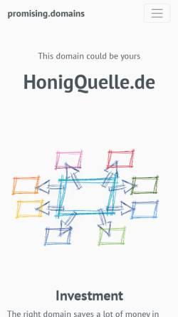 Vorschau der mobilen Webseite www.honigquelle.de, Imkerei Janke