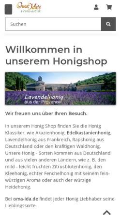 Vorschau der mobilen Webseite www.oma-ida.de, Oma Ida's Honigspezialitäten, Andreas Willert