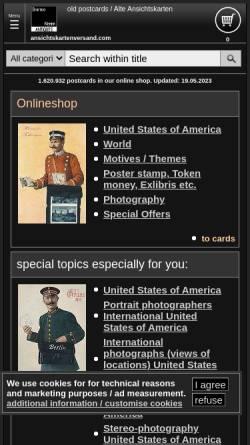 Vorschau der mobilen Webseite www.ansichtskartenversand.com, Bartko-Reher-GbR